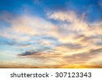 Stock photo fiery orange sunset sky beautiful sky 307123343