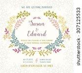 template of the wedding... | Shutterstock .eps vector #307125533