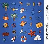 summer hand doodles elements.... | Shutterstock .eps vector #307133357