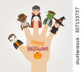 finger monsters halloween   ... | Shutterstock .eps vector #307153757