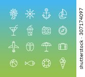 a set of line vector icons for... | Shutterstock .eps vector #307174097