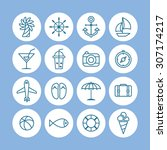 a set of line vector icons for... | Shutterstock .eps vector #307174217