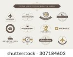 set of vintage travel badges... | Shutterstock .eps vector #307184603