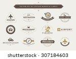 set of vintage travel badges... | Shutterstock .eps vector #307184603