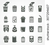 trash can and recycle bin icons.... | Shutterstock .eps vector #307204607