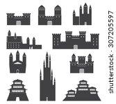 vector castles set | Shutterstock .eps vector #307205597