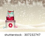 christmas background with stack ... | Shutterstock .eps vector #307232747