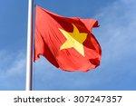 flying vietnamese flag isolated ... | Shutterstock . vector #307247357
