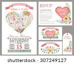 wedding design template set... | Shutterstock .eps vector #307249127
