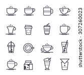 coffee icon bold stroke on... | Shutterstock .eps vector #307260023