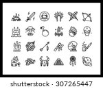 vector icon set in a modern... | Shutterstock .eps vector #307265447