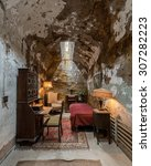 Small photo of PHILADELPHIA, PENNSYLVANIA - JULY 21: Al Capone's cell at the Eastern State Penitentiary (1829) on Fairmount Avenue on July 21, 2015 in Philadelphia, Pennsylvania