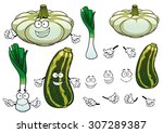 fresh green leek  pattypan... | Shutterstock .eps vector #307289387