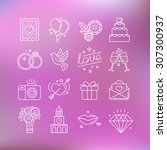 vector set of linear icons and... | Shutterstock .eps vector #307300937