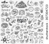 health food diet   doodles set | Shutterstock .eps vector #307304723