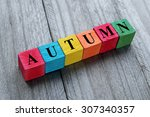 word autumn on colorful wooden... | Shutterstock . vector #307340357