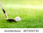 golf club and ball on green... | Shutterstock . vector #307354733