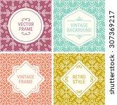 set of vintage frames in mint... | Shutterstock .eps vector #307369217