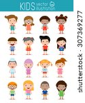 Set of diverse kids isolated on white background. . Different nationalities and dress styles. European children, America's Children, Asian children,African children, happy children,Vector Illustration | Shutterstock vector #307369277