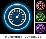 dashboard speedometer on glow... | Shutterstock .eps vector #307386713