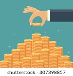 hand put coin to money... | Shutterstock .eps vector #307398857