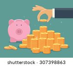 hand put coin to money... | Shutterstock .eps vector #307398863