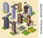 isometric skyscrapers and... | Shutterstock .eps vector #307415783