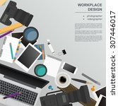 workspace of the photographer ... | Shutterstock .eps vector #307446017
