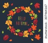 Autumnal Round Frame. Wreath O...