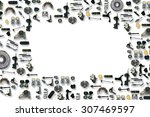 spare parts car on the white... | Shutterstock . vector #307469597