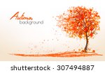 Autumn Background With A Tree...