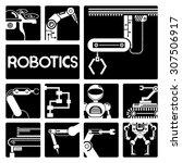 vector set of robotics icons set | Shutterstock .eps vector #307506917