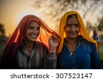 udaipur   march 25   women...   Shutterstock . vector #307523147