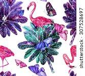 watercolor tropical jungle palm ...   Shutterstock . vector #307528697