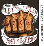 let's play rock and moshing or... | Shutterstock .eps vector #307553777