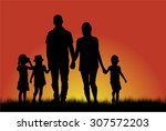 family silhouettes | Shutterstock .eps vector #307572203