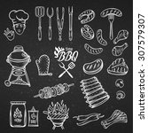 bbq feast party set vintage... | Shutterstock .eps vector #307579307