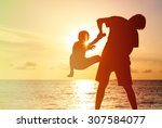 father and little son...   Shutterstock . vector #307584077