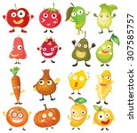 fruit and vegetables with face... | Shutterstock .eps vector #307585757
