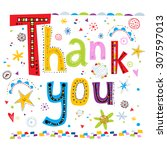 thank you greeting card with... | Shutterstock .eps vector #307597013