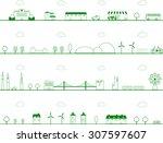 cityscape vector illustration | Shutterstock .eps vector #307597607
