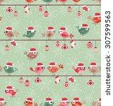 seamless birds christmas... | Shutterstock .eps vector #307599563
