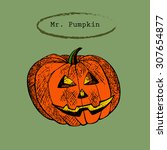 halloween pumpkin in sketch... | Shutterstock .eps vector #307654877