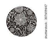 floral pattern round design... | Shutterstock .eps vector #307659647