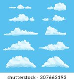 set of cartoon clouds on blue.... | Shutterstock . vector #307663193