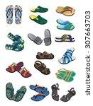 Set Of Men's Flip Flops And...