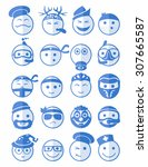 20 icons set profession smilies ... | Shutterstock .eps vector #307665587