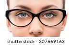 close up of young woman wearing ... | Shutterstock . vector #307669163