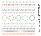 colored ornamental lines and... | Shutterstock .eps vector #307677803