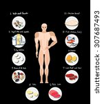 hand drawn human with healthy... | Shutterstock .eps vector #307687493